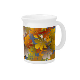 Glowing Autumn Leaves Pattern Pitcher