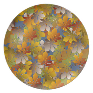 Glowing Autumn Leaves Pattern Plate