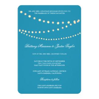 Glowing Bistro Lights Blue Wedding Invitation