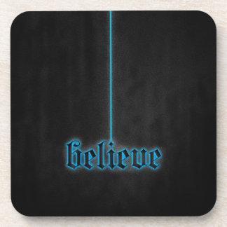 Glowing Blue Believe Beverage Coaster