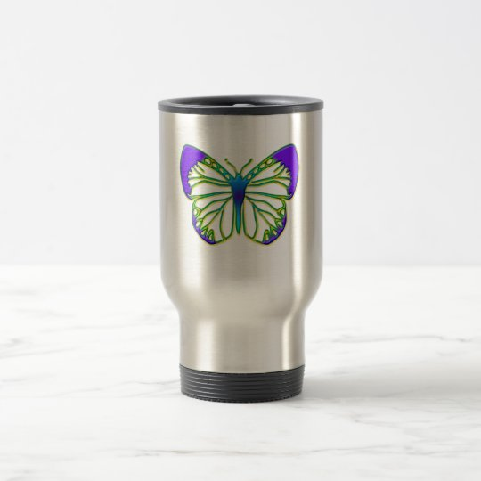 Glowing Blue Butterfly Travel Mug