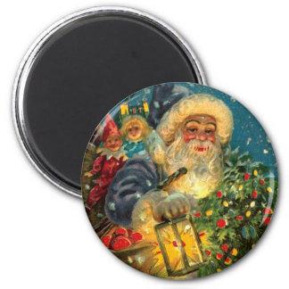 Glowing Blue Santa Claus Christmas Night Vintage 6 Cm Round Magnet