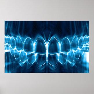 Glowing Blue Teeth Dentist Orthodontist Poster