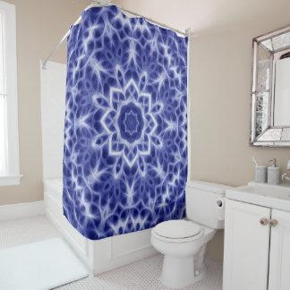 Glowing Blue White Kaleidoscope Mandala Pattern Shower Curtain