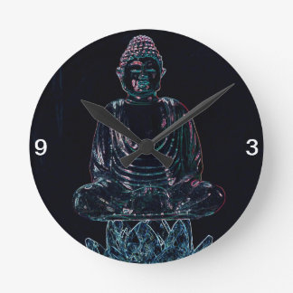 Glowing Buddha Round Clock