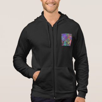 Glowing Burst of Color, Abstract Teal Violet Deva Hooded Pullover