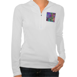 Glowing Burst of Color, Abstract Teal Violet Deva Hoodie