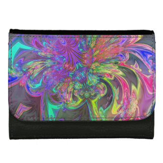 Glowing Burst of Color, Abstract Teal Violet Deva Leather Wallet