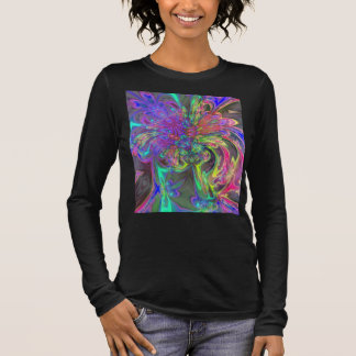 Glowing Burst of Color, Abstract Teal Violet Deva Long Sleeve T-Shirt