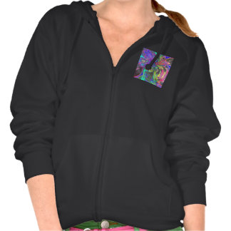 Glowing Burst of Color, Abstract Teal Violet Deva Hooded Pullovers