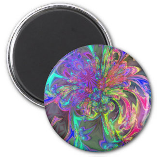 Glowing Burst of Color – Teal & Violet Deva 6 Cm Round Magnet
