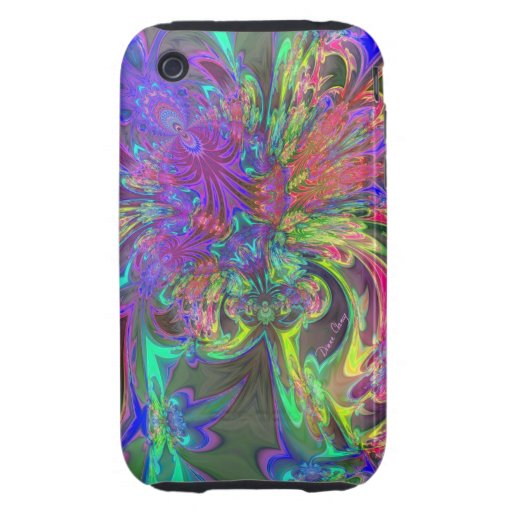Glowing Burst of Color – Teal & Violet Deva Tough iPhone 3 Cases