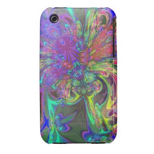 Glowing Burst of Color – Teal & Violet Deva iPhone 3 Case-Mate Cases