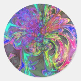 Glowing Burst of Color – Teal & Violet Deva Round Sticker