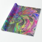 Glowing Burst of Colour, Abstract Teal Violet Deva Wrapping Paper