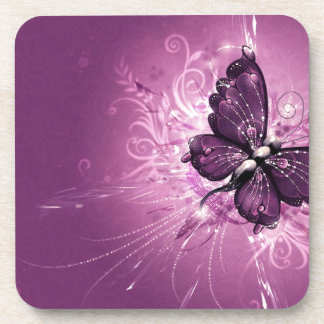 Glowing Butterfly Beverage Coaster