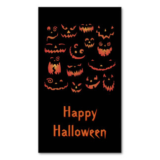 Glowing Carved Halloween Pumpkins Magnetic Business Cards