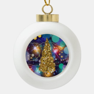 Glowing Christmas Lights Bokeh Golden Tree & Stars Ceramic Ball Decoration