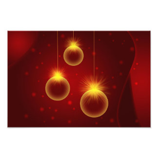Glowing Christmas Ornaments with Snowflakes Photo Print