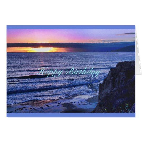 Glowing Coastal Twilight Birthday Card