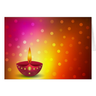Glowing Decorative Diwali Lamp Greeting Card