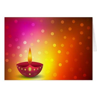Glowing Decorative Diwali Lamp Greeting Card