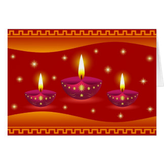 Glowing Decorative Diwali Lamps Greeting Card