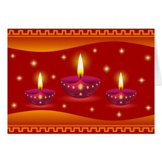 Glowing Decorative Diwali Lamps Greeting Cards