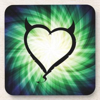 Glowing Devil Heart Coasters