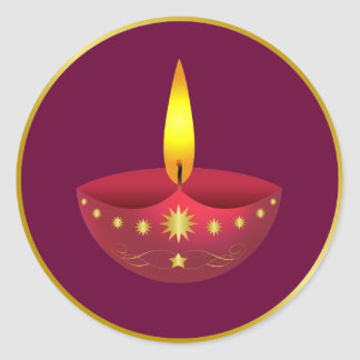 Glowing Diwali Lamp Round Sticker