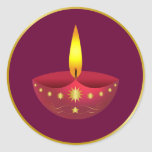 Glowing Diwali Lamp Round Stickers