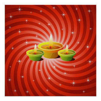 Glowing Diwali Lamps Poster