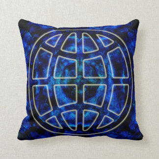 Glowing Earth Icon Over Blue Pillows