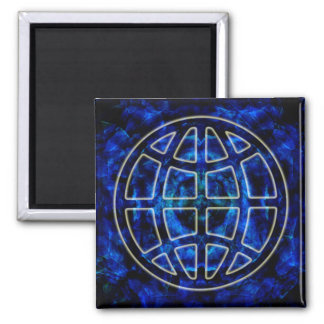 Glowing Earth Icon Over Blue Square Magnet