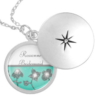 Glowing Flowers, Turquoise Round Locket Necklace