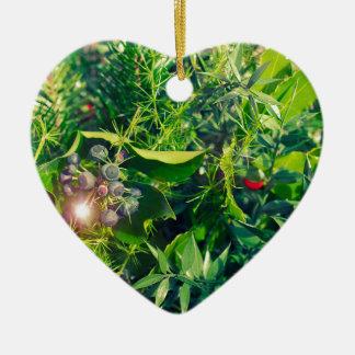 Glowing foliage ceramic heart decoration