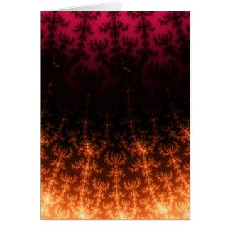 Glowing Fractal Dusk - gold, black and fuschia Greeting Card