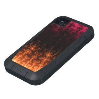 Glowing Fractal Dusk - gold, black and fuschia iPhone4 Case
