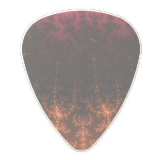 Glowing Fractal Dusk - gold, black and fuschia Polycarbonate Guitar Pick