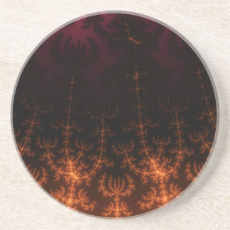 Glowing Fractal Dusk - gold, black and fuschia Drink Coasters