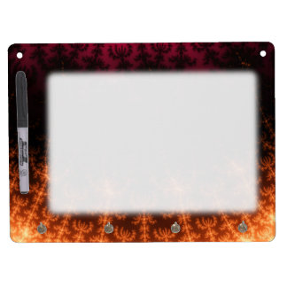 Glowing Fractal Dusk - gold, black and fuschia Dry Erase White Board