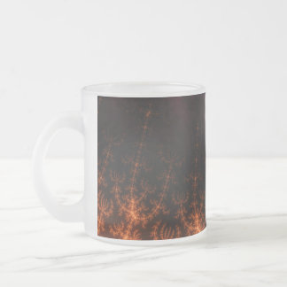 Glowing Fractal Dusk - gold, black and fuschia Frosted Glass Mug
