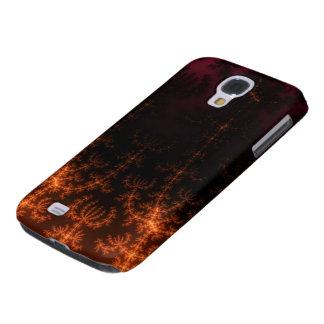 Glowing Fractal Dusk - gold, black and fuschia Galaxy S4 Case