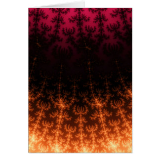 Glowing Fractal Dusk - gold, black and fuschia Greeting Card