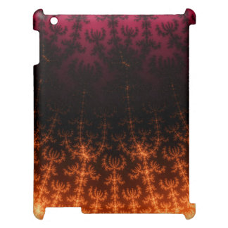 Glowing Fractal Dusk - gold black and fuschia Cover For The iPad