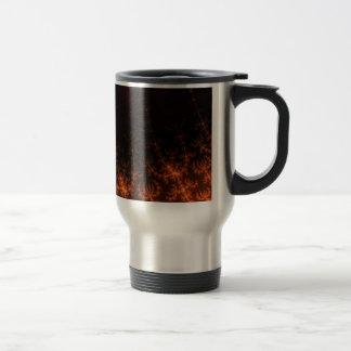 Glowing Fractal Dusk - gold, black and fuschia Coffee Mugs
