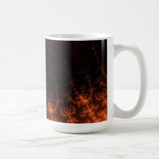 Glowing Fractal Dusk - gold, black and fuschia Coffee Mug