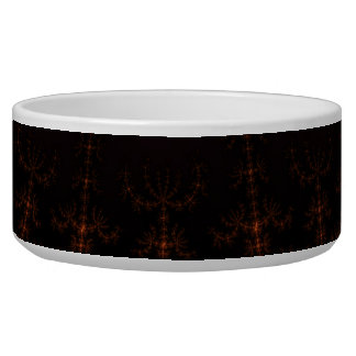 Glowing Fractal Dusk - gold, black and fuschia Pet Water Bowls