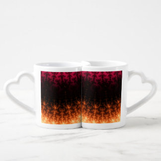 Glowing Fractal Dusk - gold, black and fuschia Couple Mugs