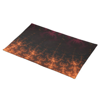 Glowing Fractal Dusk - gold, black and fuschia Placemats